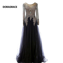 Best Selling A Line Applique Beaded Floor-Length Long Sleeves Evening Gowns Designer Evening Dresses DGE047