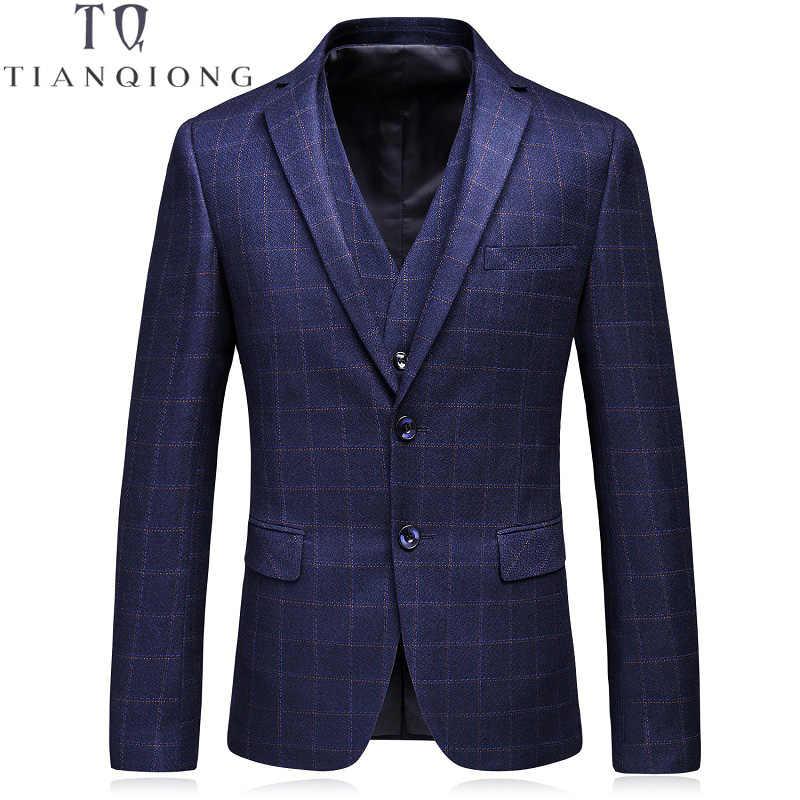 天原作スーツ男性 2018 新到着 2 ボタンスリムフィット柄男性の高級 3 ピースメンズスーツ結婚式新郎紺