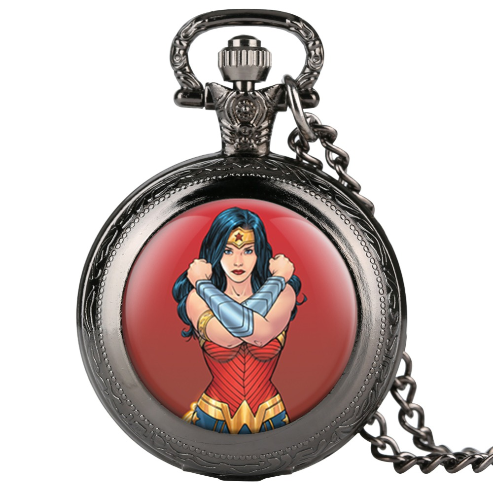 Cool Wonder Woman Quartz Pocket Watch Men Vintage Fob Women Watches With Necklace Pendant Clock Gifts For Children Boys