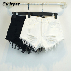 Gwirpte sexy recém-nascidos do sexo feminino verão curto feminino restaurar antigas formas de cintura alta shorts jeans solta cultivar a moralidade