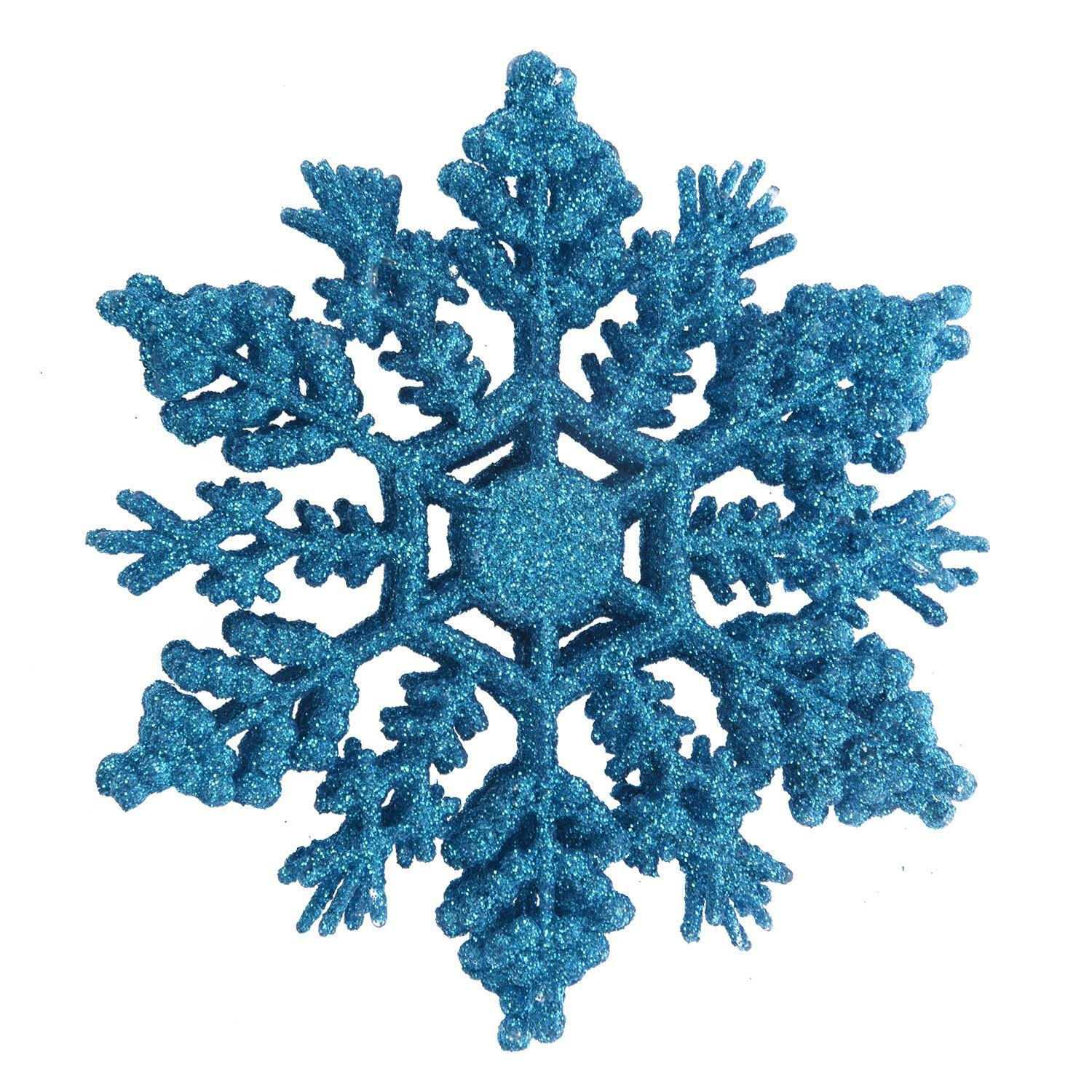Us 2 12 5 Off 12 Pcs Glitter Snowflake Christmas Ornaments Xmas Tree Hanging Decoration Blue In Pendant Drop Ornaments From Home Garden On