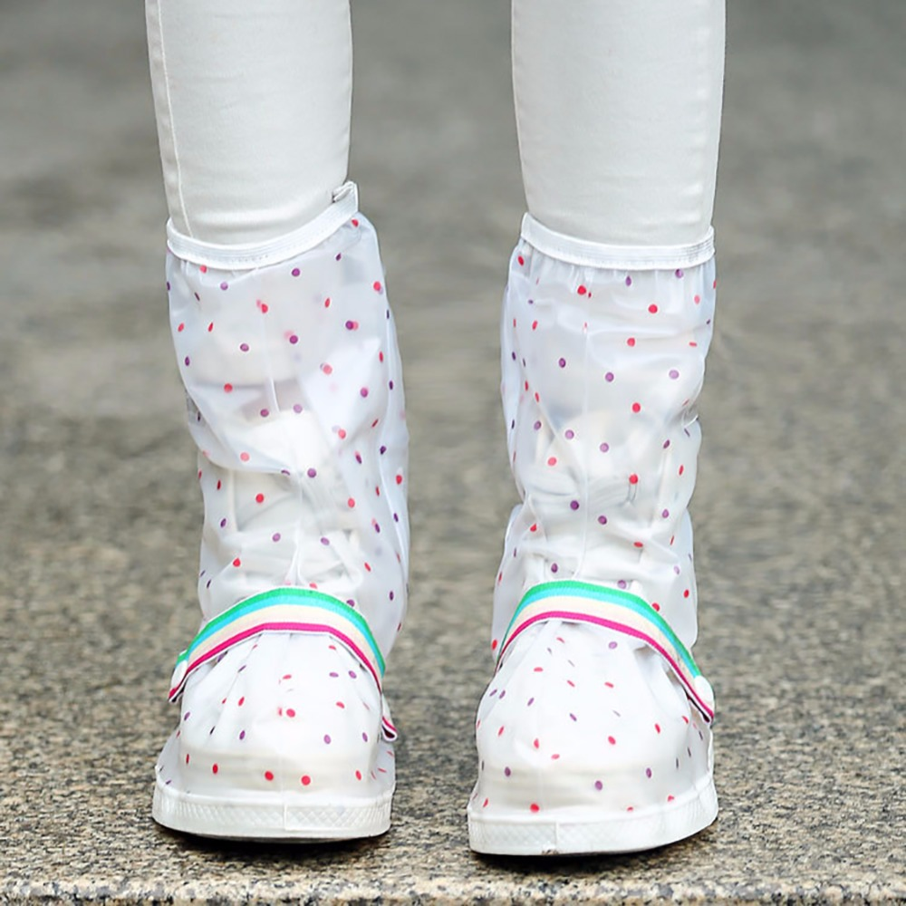 Reusable Polka Dots Waterproof Slip-resistant Thicken Sole Zippered Long Boots Rain Snow Shoes Cover