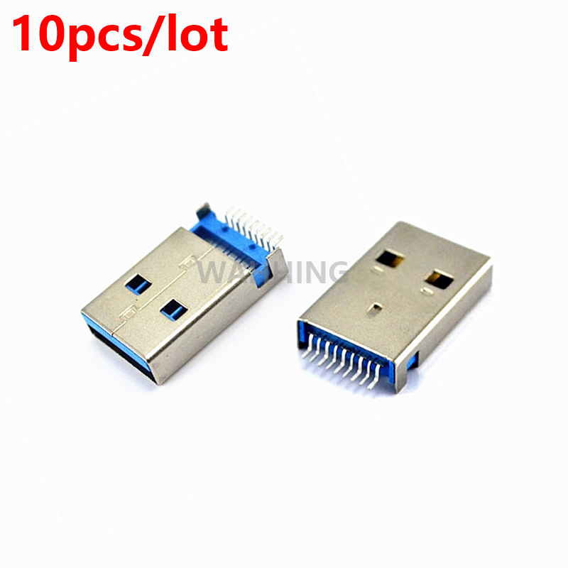 10pcs High Speed USB 3.0 A Type Male Plug Connector Adapter USB3.0 Jack Soldering Plug for Data DIY Charger Adapter HY1384*10 brand new 3 in 1 a type 2 0 usb male plug with plastic shell hole connector black soldering wire usb diy accessories