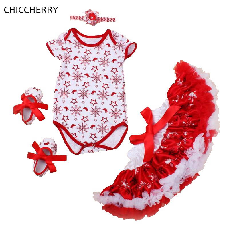 Snow Fashion Christmas Costume Baby Girl Clothes Bodysuit Lace Tutu Skirt Headband Crib Shoes Girls Christmas Outfits Boutique