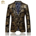 MIUK Gold Blazer Men Floral Casual Slim Blazers 2017 New Arrival Fashion Party Single Breasted Men Suit Jacket Plus Size M-4XL