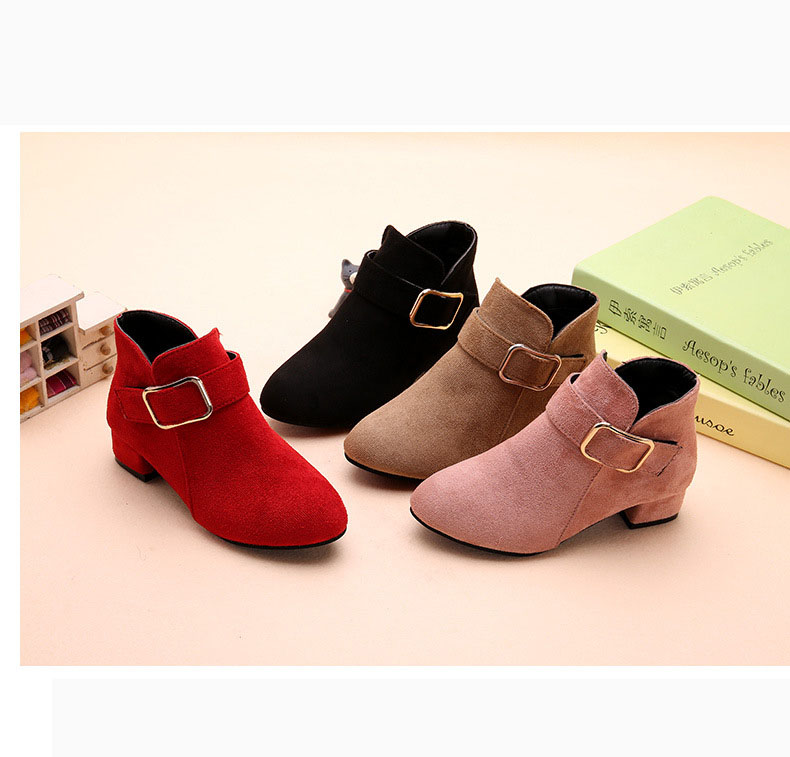 New Kids Children Girls High Heeled Shoes Pointed Toe Faux Leather Suede  Ankle Boots For Teenagers Girls Winter Boots Shoes 33 69a8cd95437a