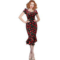 Womens Belted Vintage Pinup Rockabilly Elegant Floral Tunic Party Bodycon Wiggle Mermaid Fishtail Dress