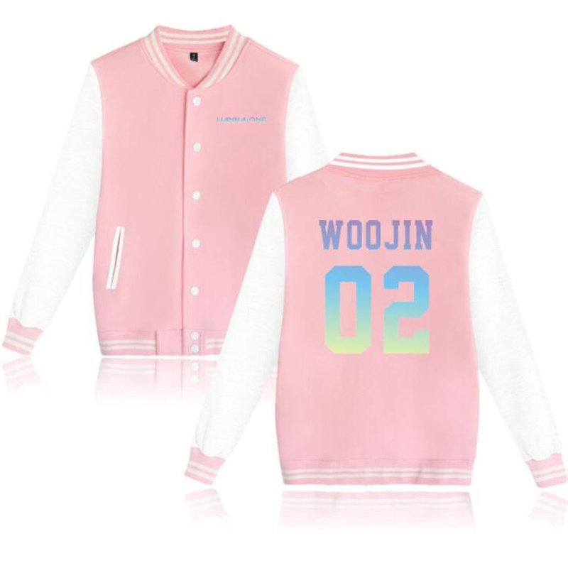 Korean Fashion KPOP Wanna One Zip-up Harajuku Sweatshirt Fans Supportive Fleece Baseball Uniform jackets Men Women Pink Hoodies