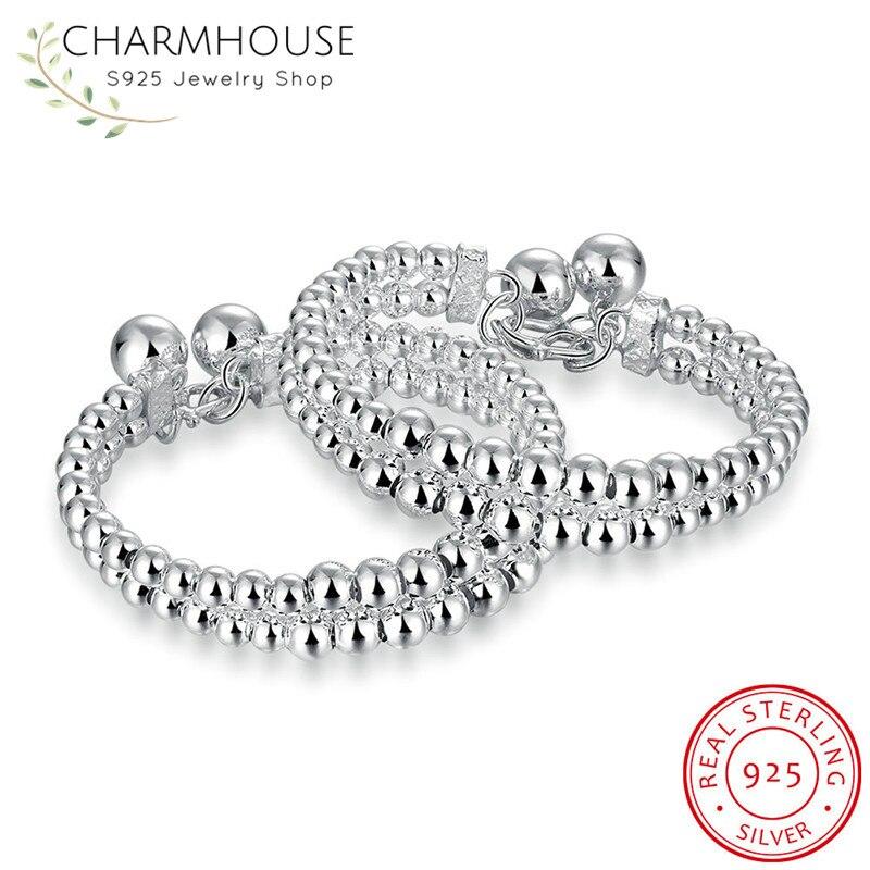 Double Raw Buddha Beads Bangles Bracelets for Women Man Sterling Silver 925 Bangle & Bracelet Fashion Brand Jewelry Pulsera цена 2017