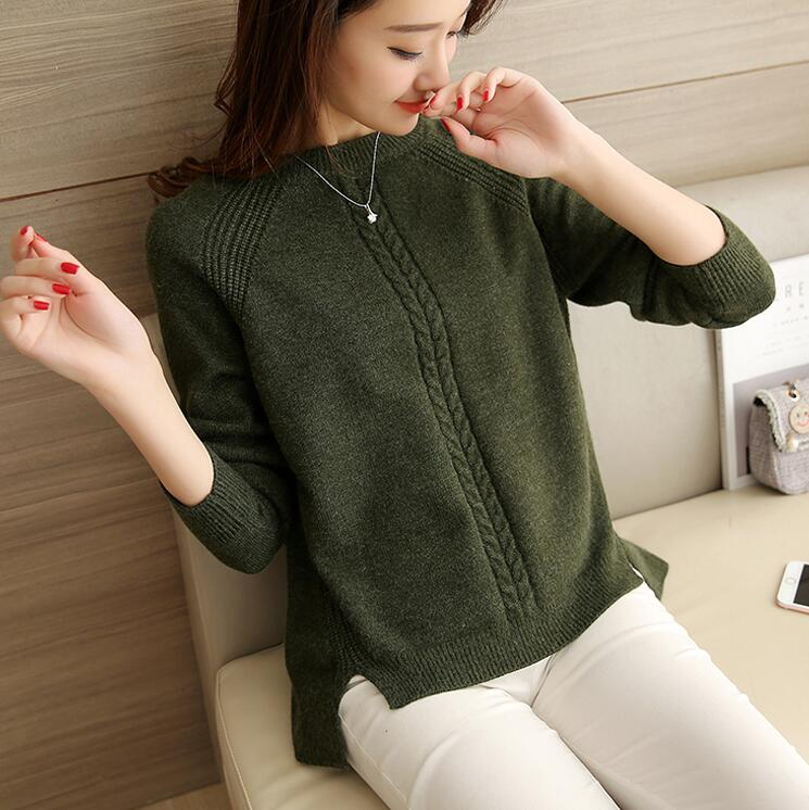 2019 Winter Women's Blouses Pullover Long Sleeve O-Neck  Slim Women Knitted Sweater For Women Long Tops