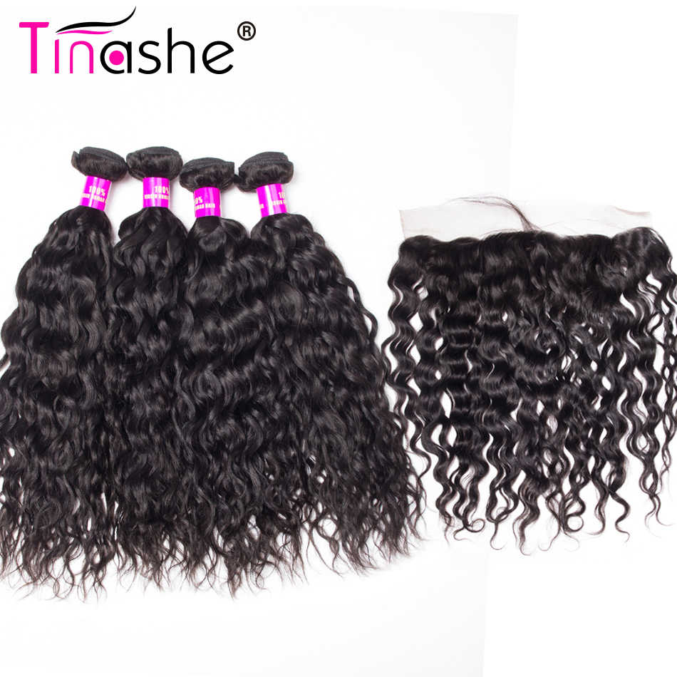 Tinashe Hair Indian Hair 4 Bundles With Closure Remy Human Hair Bundles With Frontal Water Wave Bundles With Frontal