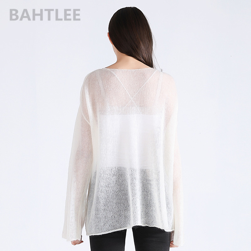 BAHTLEE spring autumn women's mohair wool knitted pullovers sweater slash neck flare sleeve thin looser and comfortable