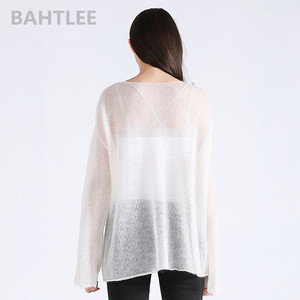 Image 4 - BAHTLEE spring autumn womens mohair wool knitted pullovers sweater slash neck flare sleeve thin looser and comfortable