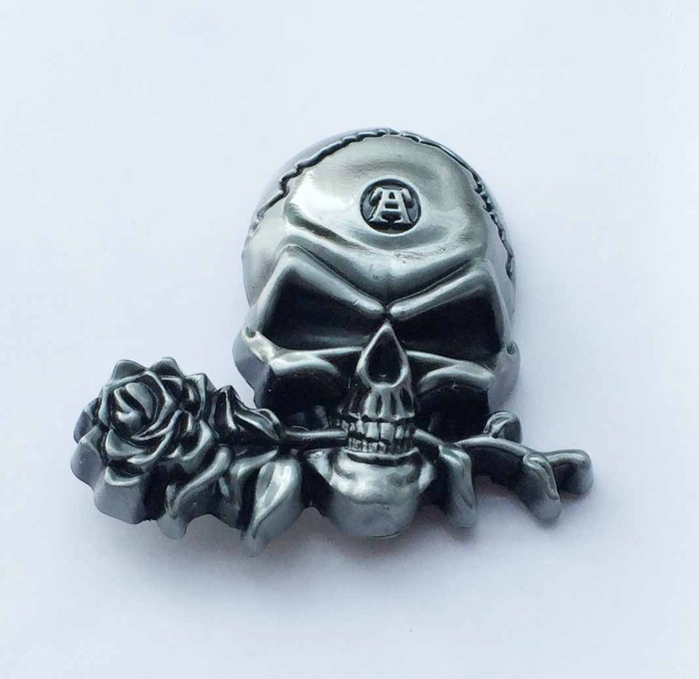 3D Cool Silver Rose Skull Cowboy Belt Buckle suitable for 4cm wideth belt with continous stock
