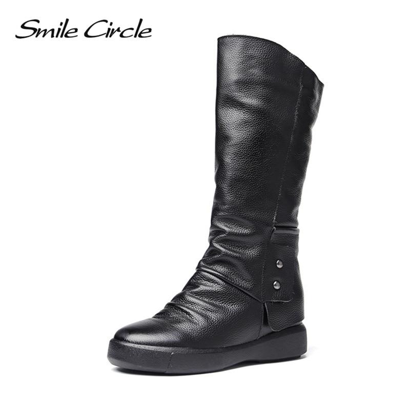 2017 Winter Boots For women boots Genuine Leather Knee High boots women Warm Plush High boots platform shoes botas femininas недорго, оригинальная цена
