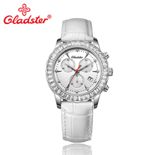 Gladster Luxury Brand Japan MIYOTA FS00 Chronograph Elegant Women Watch Leather Lady Dress Wristwatch Quartz Female Gift Clocks