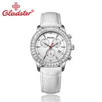 Gladster Women Watch Luxury Brand Elegant Leather White Lady Dress Watches Waterproof Gift Japan Quartz Movement Female Watches