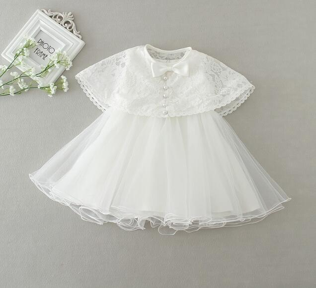 2017 New White and Baby Girl Christening gowns Infant girl Baptism Dress1 Year Birthday Party Baby Girl Dress + Shawl