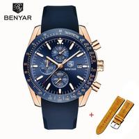Relógio de pulso dos homens benyar quartzo cronógrafo relogio masculino 2019 nova marca superior luxo militar silicone cinta relógio|Relógios de quartzo| |  -