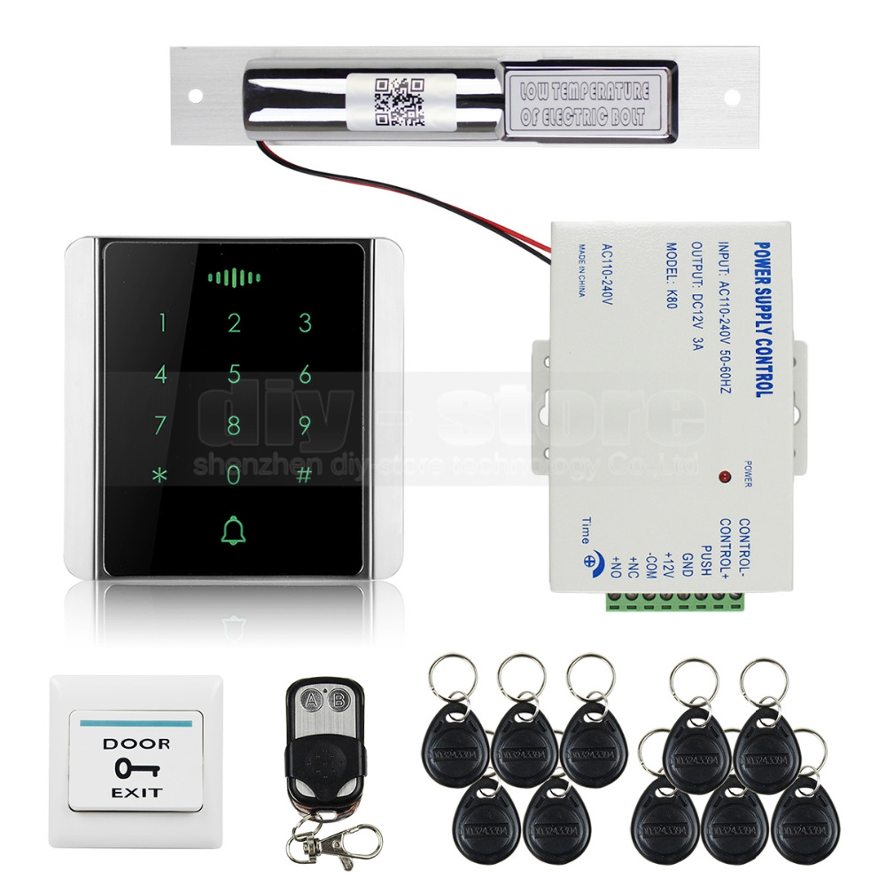 DIYSECUR 125KHz RFID Reader Password Keypad + Electric Bolt Lock + Wireless Remote Control Access Control System Security Kit diysecur electric bolt lock 125khz rfid password keypad access control system security kit door lock remote control ks158