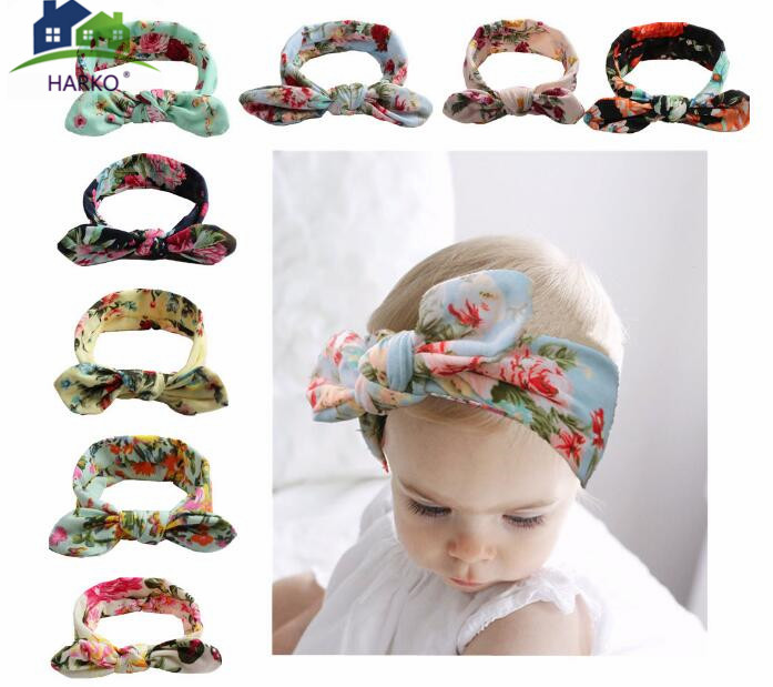 Baby Girls Headwear Cotton Infantile Trendy European Floral Head Wraps Floral Printing Turban Headband Newborn Hair Accessories Hair Accessories