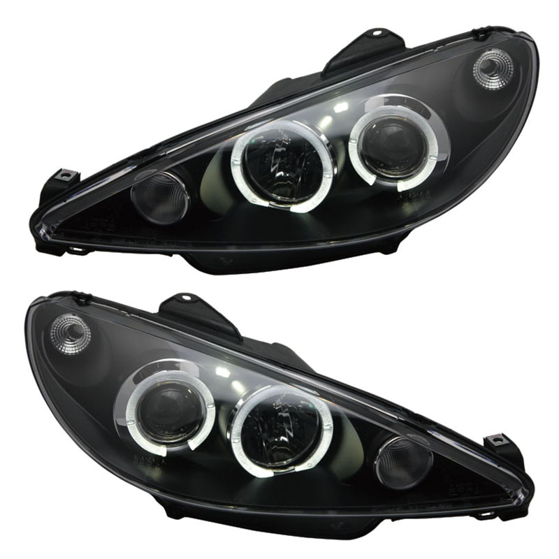 for Peugeot 206 Headlight 2004-2008 V1 Angel Eye lamps цены онлайн