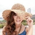 Sombrero del sol del verano de las mujeres de ala ancha floppy playa de la paja sombreros sombreros para el sol, chapéu feminino, casquette femme, sembrero, cappelli