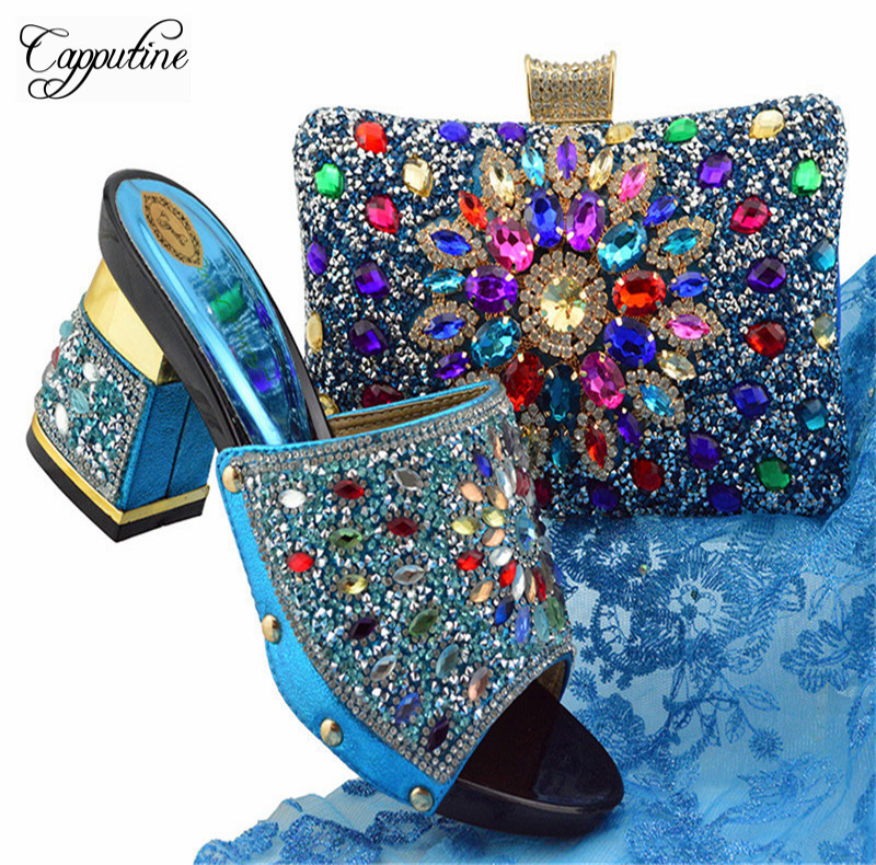 Capputine 2018 Italian Style Decorated With Crystal Shoes And Purse Set Nigerian High Heels Wedding Shoes And Bag Sets YT004 universal 6 color dye ink for epson 100ml bottle ink r230 r220 r200 t50 1400 1390 r260 r265 r280 printer cartridge
