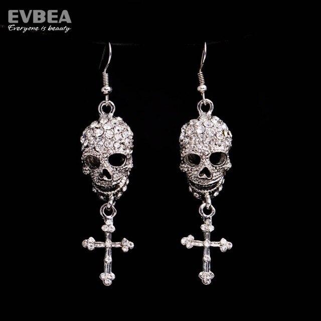 Rhinestone Skull With Cross Dangle Crystal Drop Chandelier Skeleton Earrings Women S Jewelry Brincos Accessories