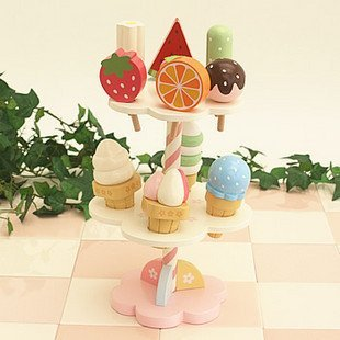 Candice guo! nova chegada de madeira brinquedos casa de brincar de sorvete de morango crianças presente de aniversário brinquedo 1 conjunto