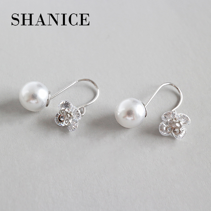 SHANICE  Micro Inlay Square Zinc Drop Earrings 925 Sterling Stud Simulated Peals Flower Earrings for Women Wedding Jewelry Gifts