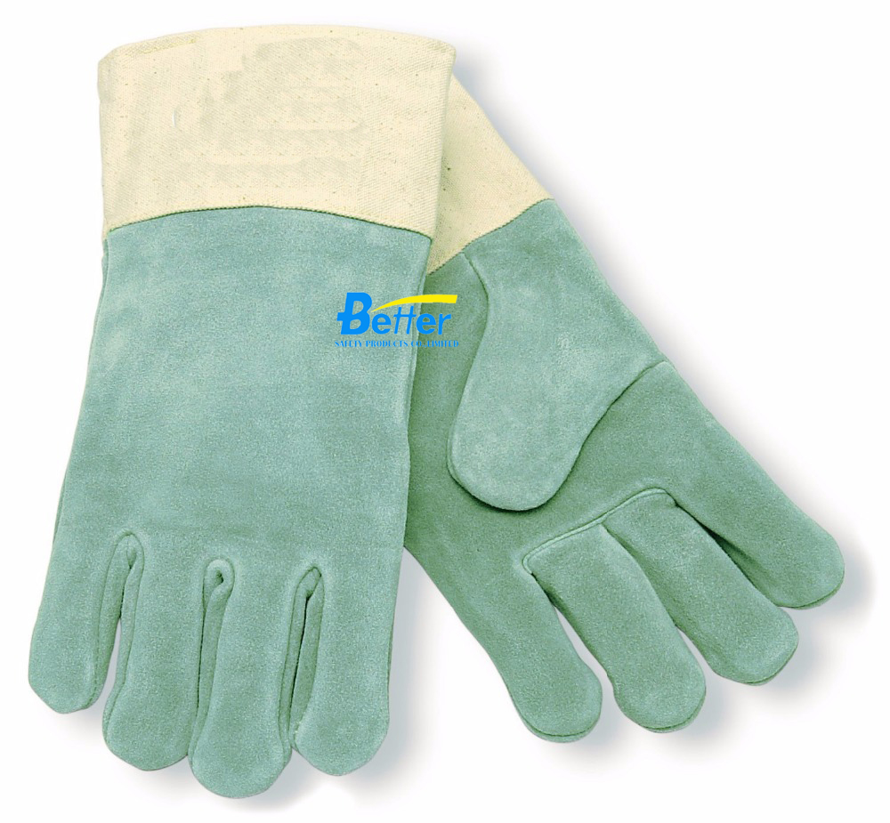 Leather work gloves with thinsulate lining - Leather Work Glove Anti Heat Resistance Treated Double Wool Lined And Duck Cuff Split Cow Leather Welder Glove