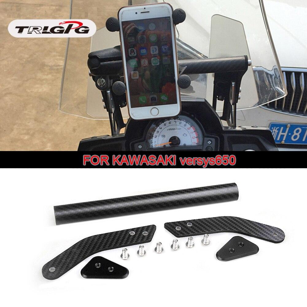 Support de support de Navigation de téléphone GPS de Modification de moto de carbone avec le bâton prolongé de barre pour Kawasaki VERSYS650 KLE650 2015-2017