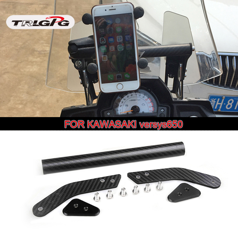 carbon Motorcycle Modification GPS Phone Navigation Bracket Holder W/ Extended Bar Stick For Kawasaki VERSYS650 KLE650 2015-2017carbon Motorcycle Modification GPS Phone Navigation Bracket Holder W/ Extended Bar Stick For Kawasaki VERSYS650 KLE650 2015-2017