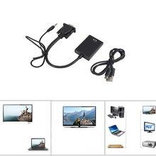 AOSANG VGA Macho para HDMI Fêmea cabo Conversor Cabo Adaptador Com Saída de Áudio 1080 p VGA HDMI Adaptador para PC portátil para HDTV Projetor