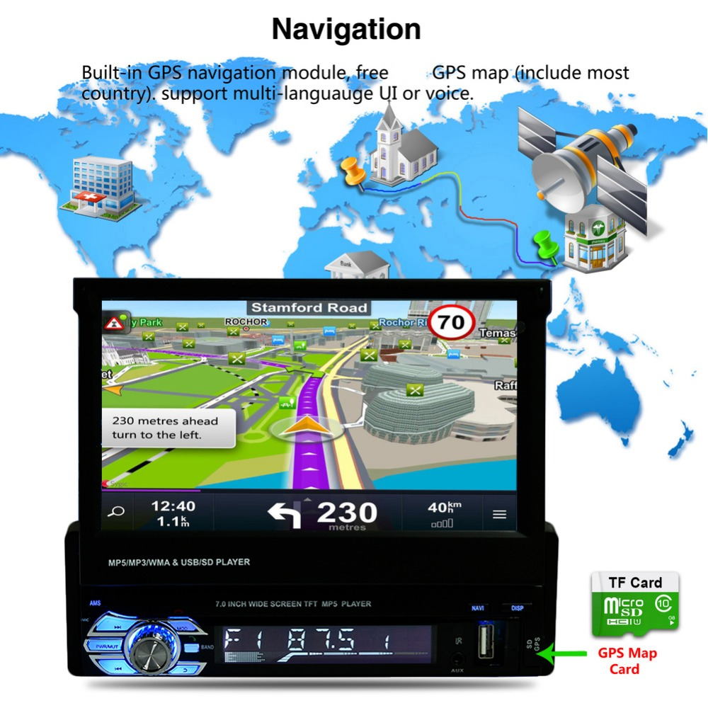 New 9601G 1 Din Car Video MP5 Player 7 Inch HD Touch Screen Bluetooth FM Radio European GPS Map USB Auto Multimedia Autoradio