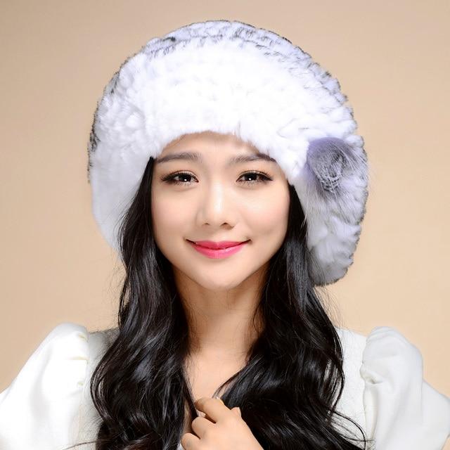 Women Genuine Knitted Rex Rabbit Fur Hats Natural Stripe Rex Rabbit Fur Caps lady winter warm Headwear free shipping TM1