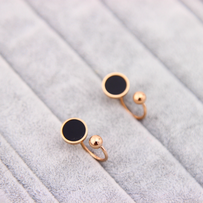 New Stainless Steel Round Bead Black Surface Stud Earrings For Women Female ,Fashion Elegant Jewelry des boucles doreilles aros