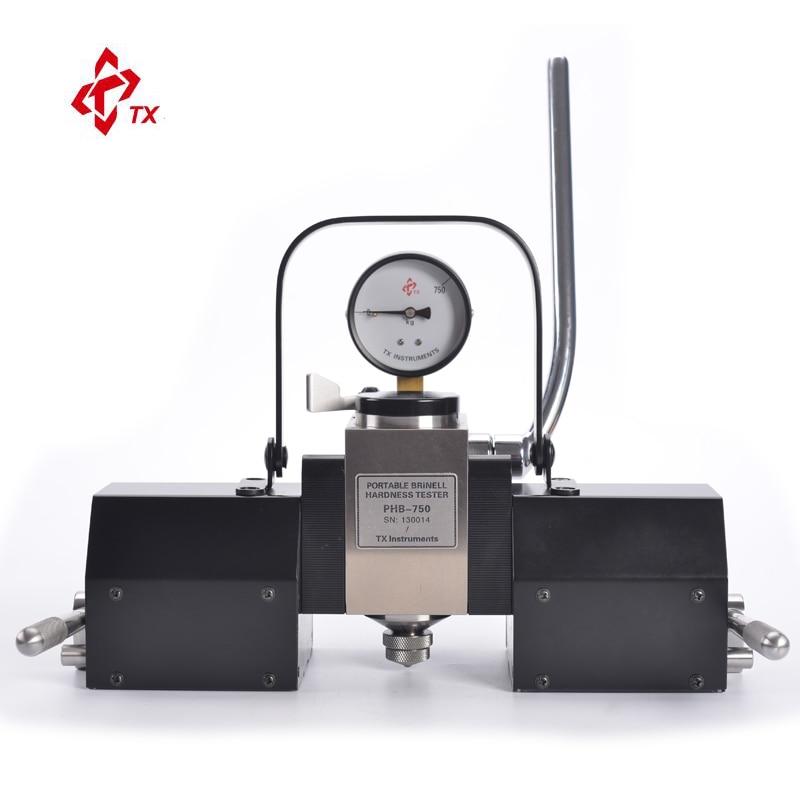 Test de duromètre de mètre d'appareil de contrôle de dureté de Brinell hydraulique magnétique portatif de marque TX sur des tubes de tuyaux de feuille de bâti de site
