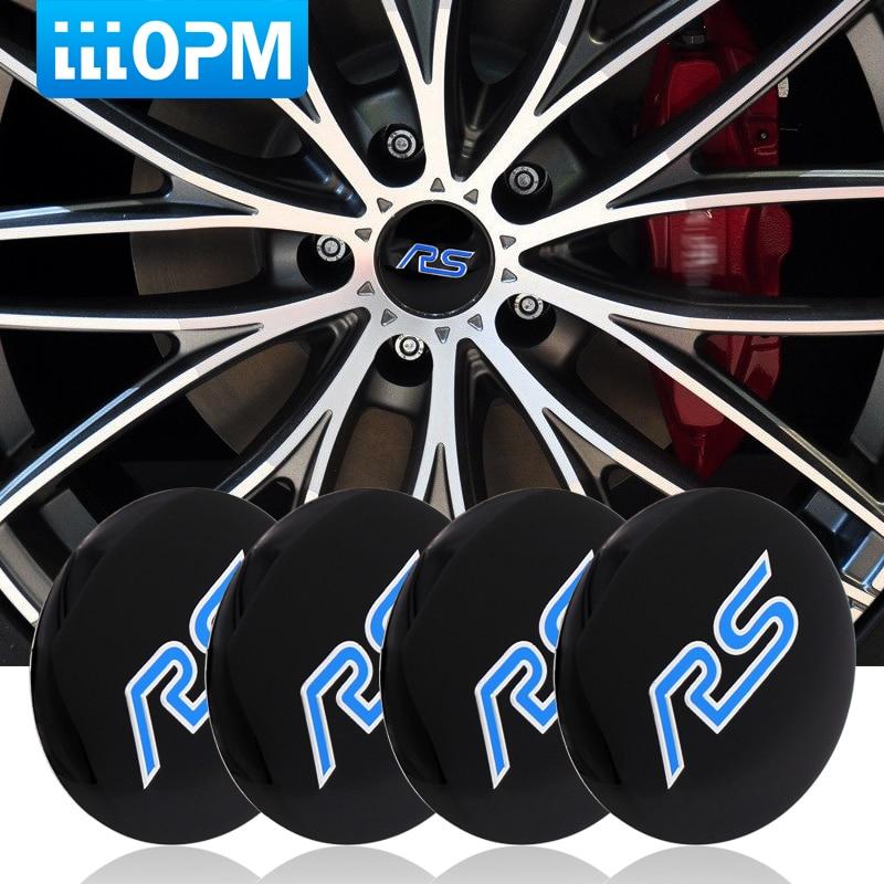 4pcs/lot 56mm Aluminum Alloy Car Tire Tyre Wheel Center Hub Caps Sticker Car RS Emblem Badge For RS Car Styling Accessories