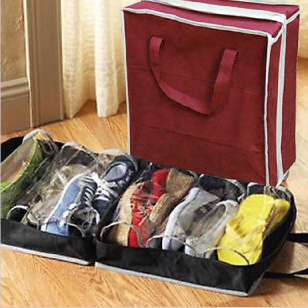 6 Grid Dustproof Shoes Organizer PVC Folding Shoes Storage For  Travel Or Home Wardrobe Storage Bag Organizador Closet