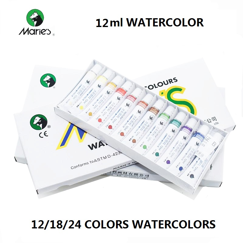цена на Marie's 12/18/24 colors watercolor paints 12ml per tube art painting supplies