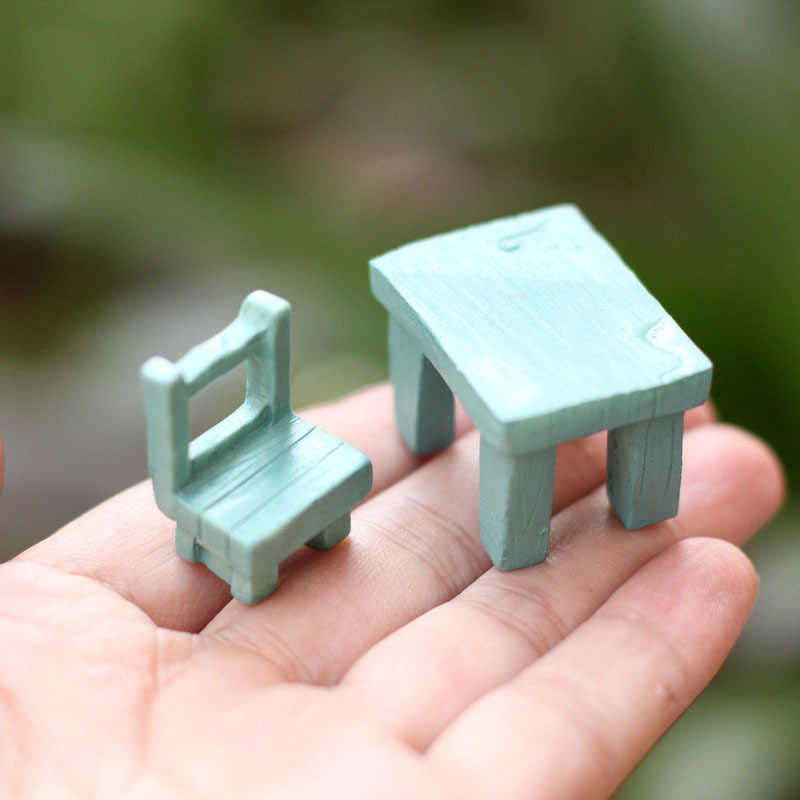 Artificial Chair Tables Mini Craft Miniature Fairy Garden Home Decoration Houses Micro Landscaping Decor DIY Accessories
