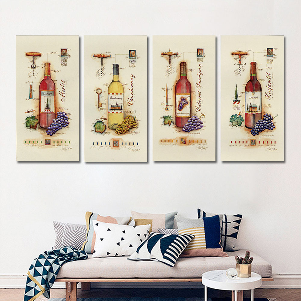 4 piece modern wine paintings canvas bottle wall art - Kitchen canvas wall decor ...