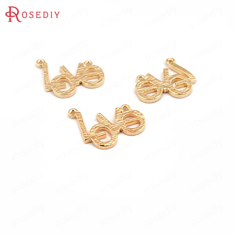 (33553)10PCS 13*11MM 24K Gold Color Brass LOVE Charms Pendants High Quality Diy Jewelry Findings Accessories wholesale