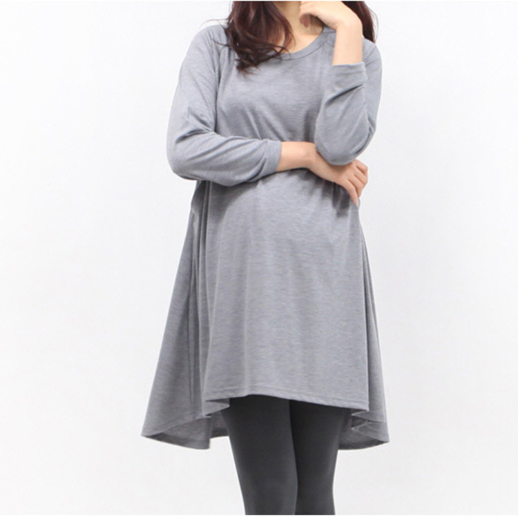 New Autumn Pregnant Women Tees Pure Color Long Sleeve Long T-Shirts Breastfeeding Tees Tops Plus Size Maternity Nursing Clothes