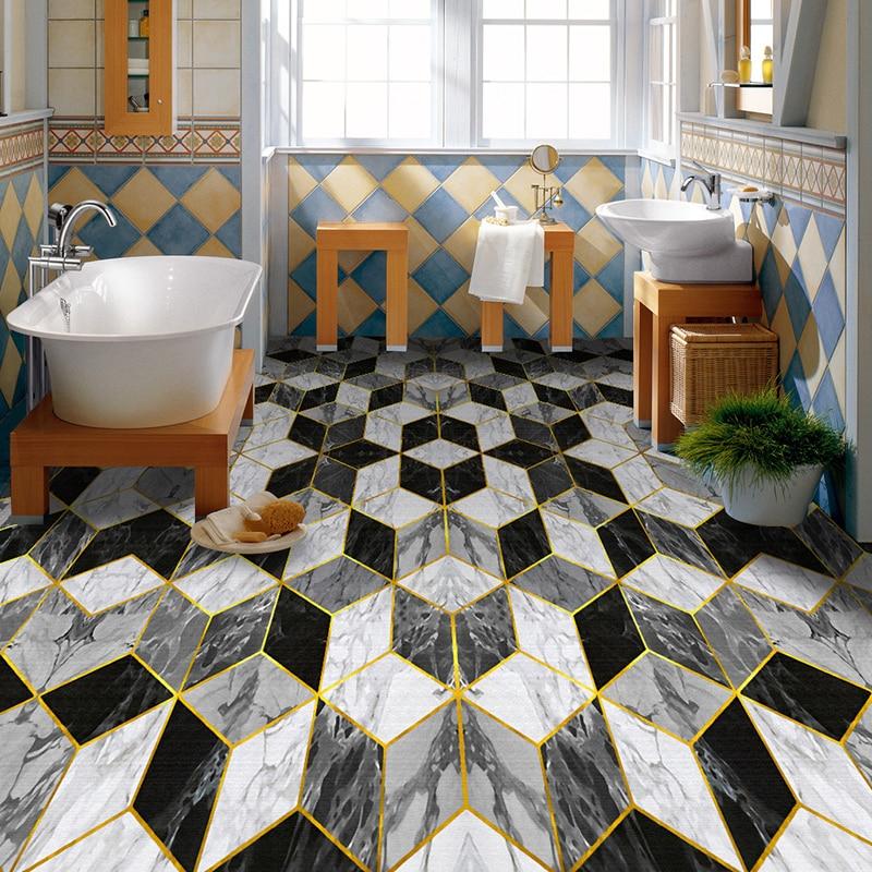 Custom Photo Floor Wallpaper 3D Imitation Marble Living Room Bedroom Bathroom Floor Mural Painting PVC Self-adhesive Waterproof