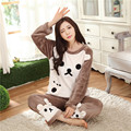 Ms. thick winter models coral velvet pajamas female spring and winter cute cartoon long-sleeved flannel suit tracksuit