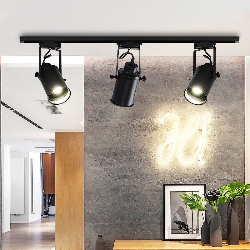 Us 18 04 29 Off Vintage Retro Ceiling Light Led Track Rail Spotlight Lamp Kitchen Cloth Coffee Luminaire Fixtures In