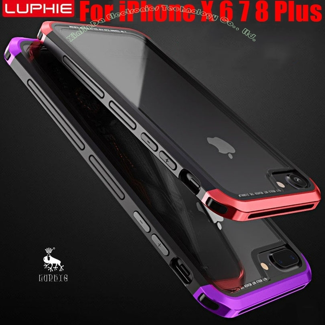 online retailer d53e9 495b1 US $13.06 24% OFF|Case For IPhone X 6 6S 7 8 Plus Luxury Original Luphie  Aluminum Metal Frame + 9H Glass Back Cover for iPhone8 IP731-in Phone  Bumper ...